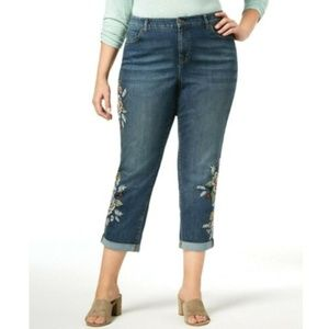 Style & Co. Trendy Embroidered Boyfriend Jeans 16W